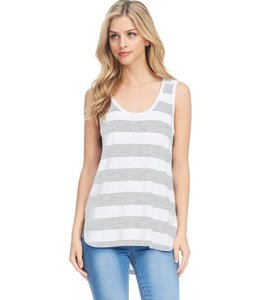 PODOS Striped Knit Hi-Lo Tank