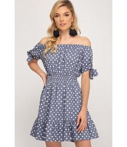 PODOS Off Shoulder Polka Dot Dress