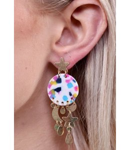 PODOS Star & Moon w/ Disc Earrings