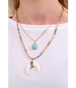 PODOS Layered Necklace w/ Crescent -Turq