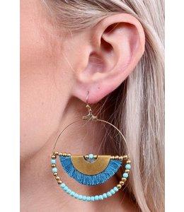 PODOS Hoop Earring w/Half Tassel -Turq