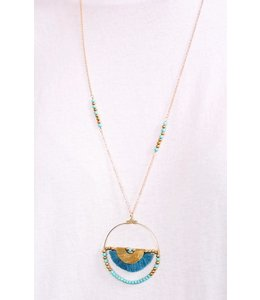 PODOS Round Bead/Tassel Necklace-Teal