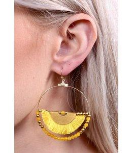 PODOS Hoop Earring w/Half Tassel -Yel