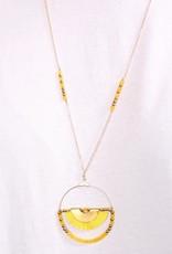 PODOS Round Bead/Tassel Necklace-Yellow