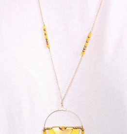 PODOS Round Bead/Tassel Necklace-Yellow