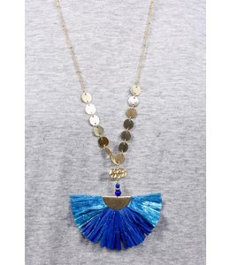 PODOS Raffia Fan/Disc Necklace
