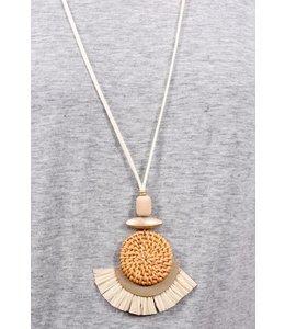 PODOS Woven Rafia/Tassel Necklace