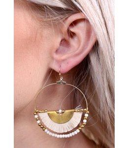 PODOS Hoop Earring w/Half Tassel- Nat