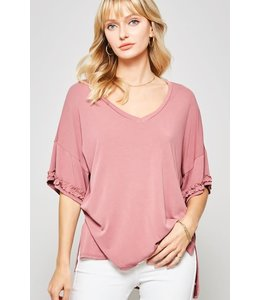 PODOS V-Neck, Dropped Shoulder Knit Top