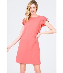 PODOS Ruffle Sleeve Knit Dress