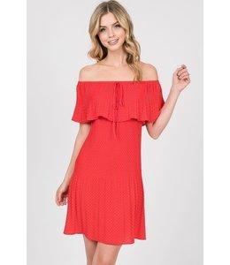 PODOS Off-Shoulder Polka Dot Dress