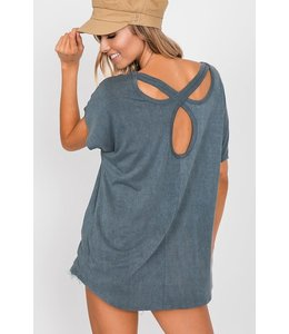 PODOS Open Back Top w/ Crossed Details