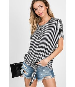 PODOS Striped Button-Up Top