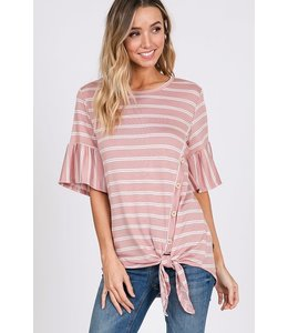 PODOS Stripe Ruffle Sleeve Top