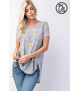 PODOS Notch Neck Burnout Top