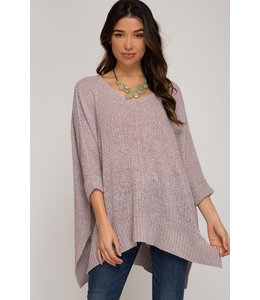 PODOS Hi-Low Sweater w/ Cuffed 3/4 Sleeve