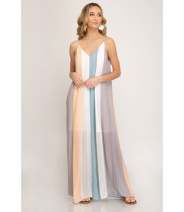 PODOS Color-Block Cami Dress w/ Lining