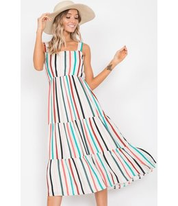 PODOS Stripe Ruffle  Dress w/ Straps