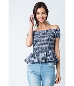 PODOS Smocked Off-the-Shoulder Top