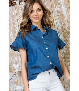 PODOS Ruffle Front Button Top