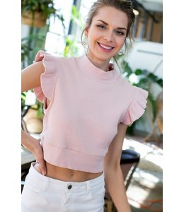 PODOS Short Ruffle Sleeve Crop Top