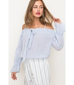 PODOS Striped Off Shoulder Top