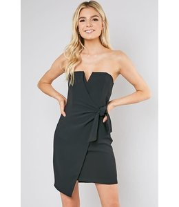 PODOS Side Tie Strapless Dress