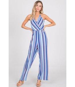PODOS Striped Surplice Jumpsuit