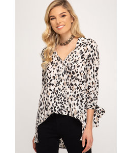 PODOS Leopard Print Tie Sleeve Top