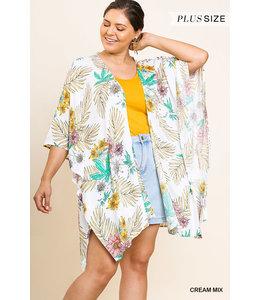 PODOS Tropical Floral Print Kimono PLUS
