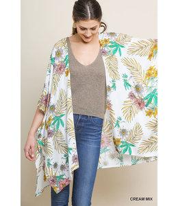 PODOS Tropical Floral Print Kimono