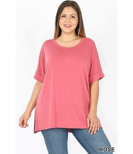 PODOS Rolled Sleeve Hi-Lo Top PLUS