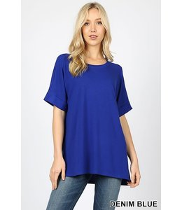 PODOS Rolled Sleeve Hi-Lo Top