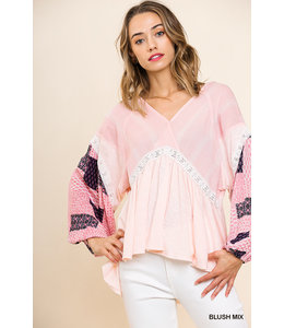 PODOS Puffed Sleeve V-Neck Babydoll Top