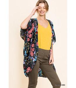 PODOS Floral Print Kimono