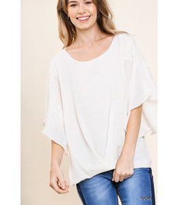 PODOS Ruffled Sleeve Round Neck Top