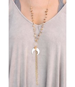 Caroline Hill Stone Chip Crescent Necklace