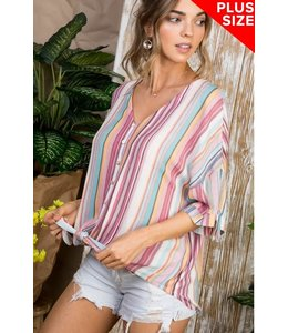 PODOS Stripe Button Front Tie Top
