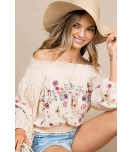PODOS Embroidered Off-Shoulder Top