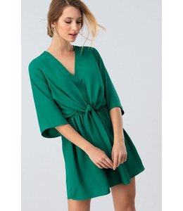 PODOS Tie Front Bell Sleeve Dress