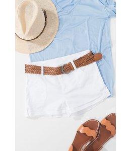 PODOS Twill Shorts w/ Leather Braid Belt