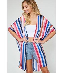 PODOS Stripe Dolman Sleeve Kimono