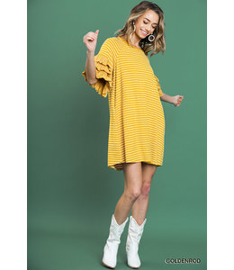 PODOS Striped Ruffle Sleeved Dress