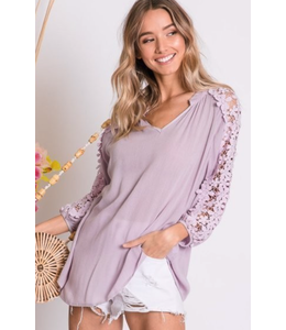 PODOS Lace Sleeve, V-Neck Top