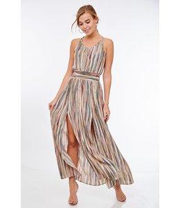 PODOS Stripe Halter Maxi Dress