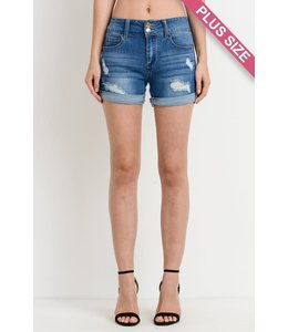 PODOS Mid Rise Distressed PLUS Shorts