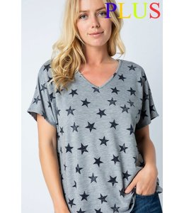PODOS Star Print Tunic Top