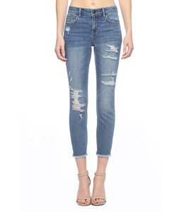 PODOS Mid Rise Distress Crop Skinny