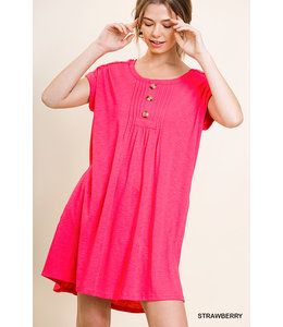 PODOS Rolled Sleeve Knit Dress w/ Pockets