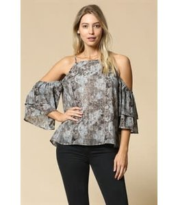 PODOS Cold Shoulder Missoni Print Top
